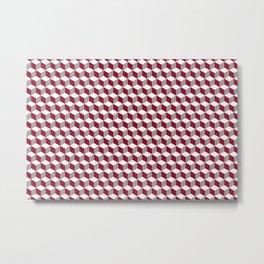 Cube Burgundy Metal Print