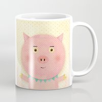 pooh Mugs featuring Piggy Pooh by Silva Ware by Walter Silva