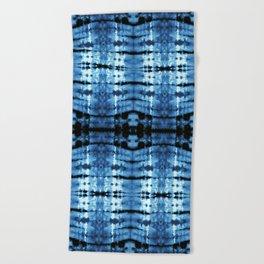 Indigo Satin Shibori Beach Towel