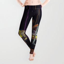 Grass Hopper  Nature Design in Black, Coffee Brown, & yellow Patterned Abstract Leggings