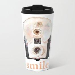 Retro Watercolor Camera SMILE! Metal Travel Mug