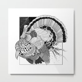 Turkey Black & White Line Illustration Metal Print