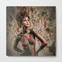 Young woman muse with creative body art and hairdo (11) Metal Print