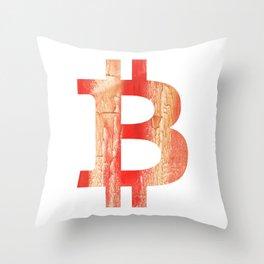 Bitcoin Burnt sienna watercolor Throw Pillow