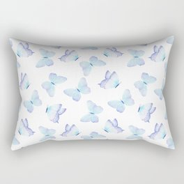 Hand painted pastel teal lavender watercolor butterflies Rectangular Pillow