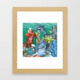 Funny sea life Framed Art Print