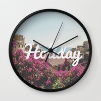 holiday Wall Clocks featuring Holiday by Laure.B