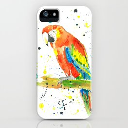 Parrot (Scarlet Macaw) - Watercolor Painting Print iPhone Case