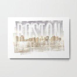 BOSTON Skyline | Vintage Metal Print