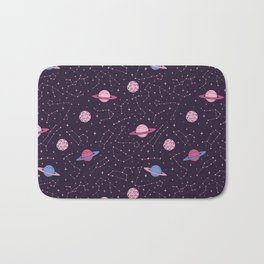 Pink Constellations and Planets Pattern Bath Mat