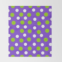 Purple with white and green dots Throw Blanket