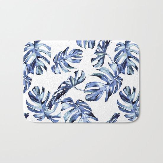 Blue Palm Leaves Bath Mat