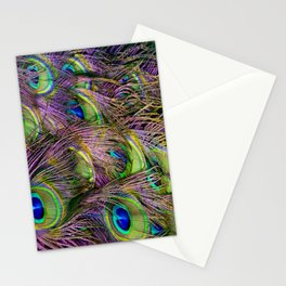 art nouveau bohemian turquoise purple teal green peacock feather Stationery Cards
