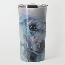 white POODLE dog art portrait from an original painting by L.A.Shepard Travel Mug