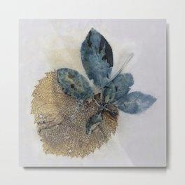 Blue Leaves Eco-print Metal Print