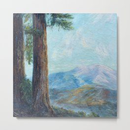 Redwood Grove, Santa Cruz, California landscape painting by Leonora Naylor Penniman Metal Print
