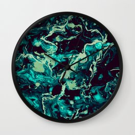 Neon cyan Glow splash on black Liquid paint art Wall Clock