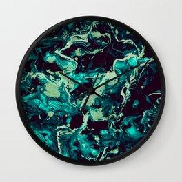 Neon cyan Glow splash on black Liquid paint art Wall Clock