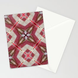 Holiday Red, Cream and Gold Burlap Plaid Pattern Stationery Cards