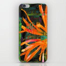 Electric Floral Burst in Tangerine iPhone Skin