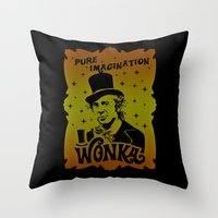willy wonka Throw Pillows featuring Gold Ticket by Buby87