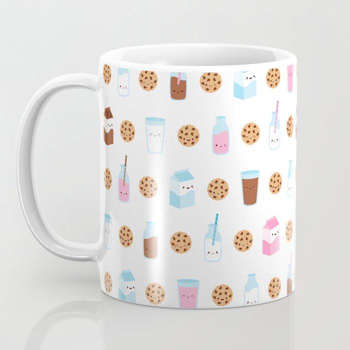 Milk and Cookies Pattern on White Coffee Mug