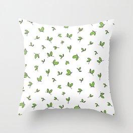 Green leaves digital design Throw Pillow