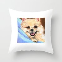 pomeranian Throw Pillows featuring Preppy Pomeranian by Britanee LeeAnn Sickles
