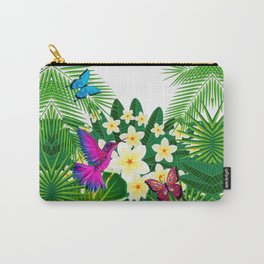 Tropical Hummingbird & Butterfly Pattern Carry-All Pouch