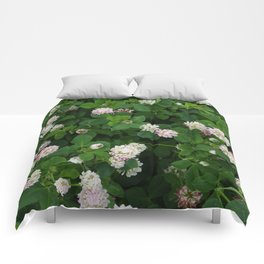 Clover flowers green and white floral field Comforters