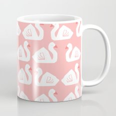 Swan minimal pattern print pink and white bird illustration swans nursery decor Mug