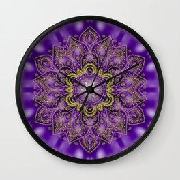 Mandala of Lights on Purple Wall Clock