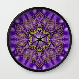 Mandala of Lights on Purple Wall Clock