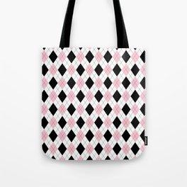 Pink, Black, White Argyle Pattern Tote Bag