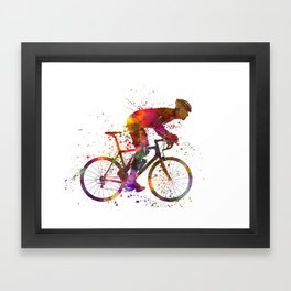 cyclist road bicycle Framed Art Print