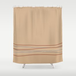 Sherwin Williams Ligonier Tan SW 7717 with Scribble Lines Bottom in Cavern Clay SW 7701 Shower Curtain