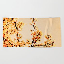 SPRING BLOSSOMS IN ORANGE Beach Towel