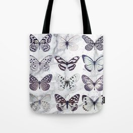 Black and white marble butterflies Tote Bag