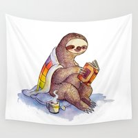 sloth Wall Tapestries featuring Sloth by KteaCrumpet