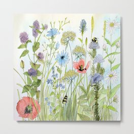 Floral Watercolor Botanical Cottage Garden Flowers Bees Nature Art Metal Print
