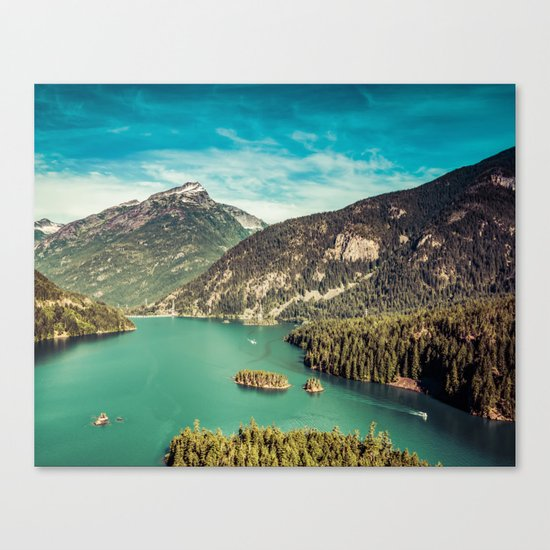 Lake Diablo - Blue and Green Water and Trees Canvas Print