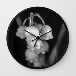 Black and white lily of the valley Wall Clock