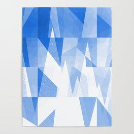 Abstract Blue Geometric Mountains Design Poster
