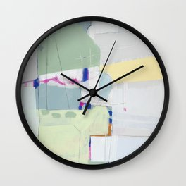 Rockpile II - abstract painting in navy, mint, cream, white, and pink Wall Clock