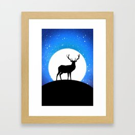 Deer and Moon Framed Art Print