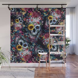 Floral Skulls Wall Mural