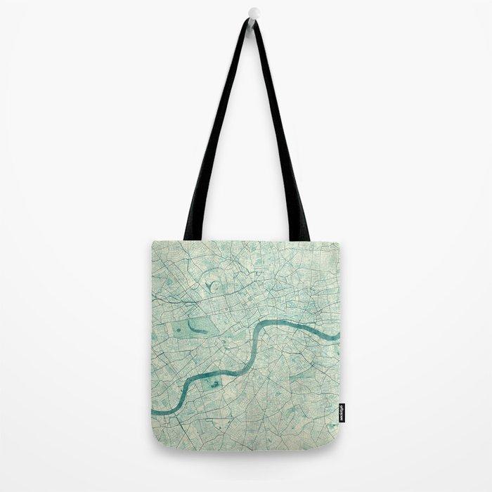 London Map Blue Vintage Tote Bag