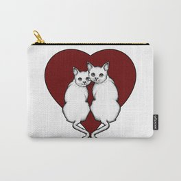 Cat Couple, White Cats with Big Red Heart, Love, Romance Carry-All Pouch