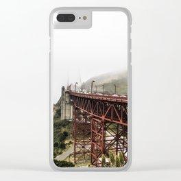 Foggy Bay Bridge Clear iPhone Case