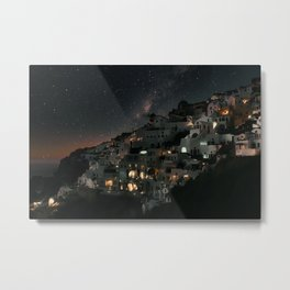WHITE AND BLACK HOUSES NEAR BODY OF WATER DURING NIGHT TIME Metal Print